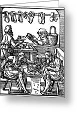 Engraving Of Cobblers Making Leather Shoes. Greeting Card