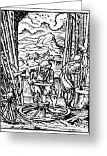 Engraving Of Wheel Manufacture In The 16th Century Greeting Card