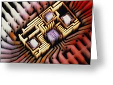 Enhanced Macrophoto Of A Hybrid Integrated Circuit Greeting Card