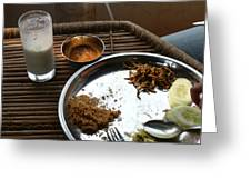 Enjoying A Plate Of Rajasthani Food On A Steel Plate On A Bamboo Table Greeting Card