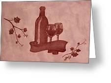 Enjoying Red Wine  Painting With Red Wine Greeting Card by Georgeta  Blanaru