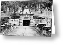 entrance bridge and ornate tunnel to Glasgow necropolis cemetery Scotland UK Greeting Card