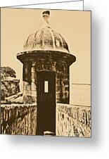 Entrance To Sentry Tower Castillo San Felipe Del Morro Fortress San Juan Puerto Rico Rustic Greeting Card by Shawn O'Brien