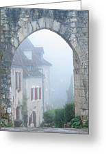 Entryway To St Cirq In The Fog Greeting Card