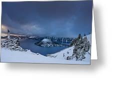 Enveloping Storm At Crater Lake Greeting Card