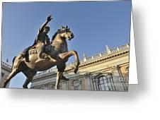 Equestrain Statue Of Emperor Marcus Aurelius In Piazza Del Campidoglio.capitoline Hill. Rome. Italy. Greeting Card by Bernard Jaubert