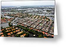 Erial View Of Flood Waters Affecting An Greeting Card