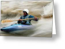 Eric Brown Paddling The Whitewater Greeting Card