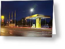 Estonian Gas Station At Night Greeting Card