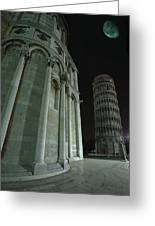 Ethereal Moonlight Scene Of Duomo Santa Greeting Card by Carson Ganci