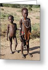 Ethiopia-south Tribesman Boy And Sister No.1 Greeting Card