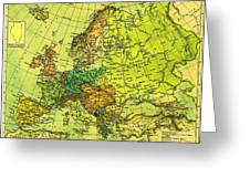 Europe Map Of 1911 Greeting Card