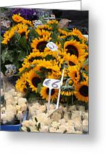 European Markets - Sunflowers And Roses Greeting Card
