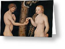 Eve Offering The Apple To Adam In The Garden Of Eden Greeting Card