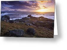 Evening At Breasty Bay Near Malin Head Greeting Card