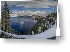 Evening At Crater Lake Panorama Greeting Card