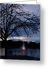 Evening Falls On Youth's Fountain Greeting Card