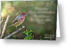 Evening Finch Greeting Card With Verse Greeting Card