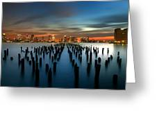 Evening Sky Over The Hudson River Greeting Card