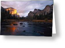 Evening Sun Lights Up El Capitan Greeting Card