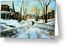 Evening Winter Walk Streets Of Montreal After The Snowstorm Greeting Card