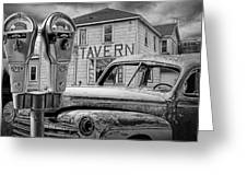 Expired A Black And White Photograph Of A Tavern Parking Meters And Vintage Junk Auto Greeting Card