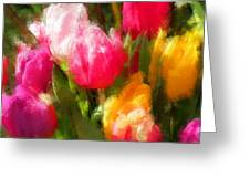 Expressionistic Spring Tulip Explosion Greeting Card