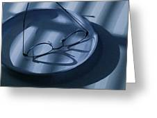 Eye Glasses On A Plate In Blue Greeting Card