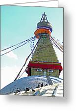 Eyes Of The Boudhanath Stupa  Nepal Greeting Card