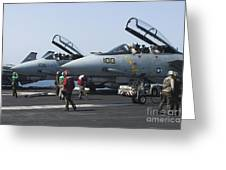 F-14d Tomcats On The Flight Deck Of Uss Greeting Card