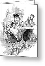 Face Mask Production, 19th Century Greeting Card by
