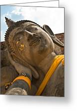 Face Of A Reclining Buddha Greeting Card