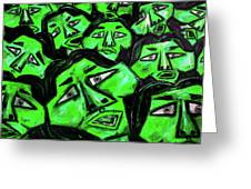 Faces - Green Greeting Card