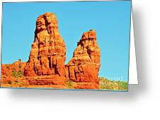 Faces In The Red Rock Towers Greeting Card