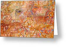 Faces On An Icon Greeting Card by Pg Reproductions