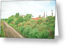 Factory And Trainlines Greeting Card