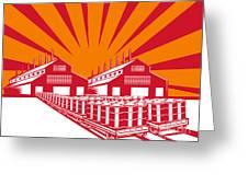 Factory Building Oil Drum Barrel Retro Greeting Card by Aloysius Patrimonio