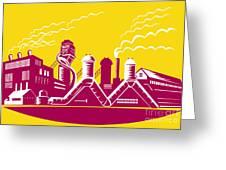 Factory Building Power Plant Retro Greeting Card by Aloysius Patrimonio