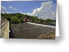 Faded Red Water Mill On The Dam Of The Raritan River Greeting Card