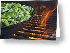 Fajita Cast Iron Skillet With Green Peppers Sizzling Hot Greeting Card