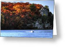 Fall Boating At Starved Rock Greeting Card