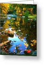 Fall Color At The River Greeting Card by Suni Roveto