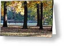 Fall Park Bench 1 Greeting Card