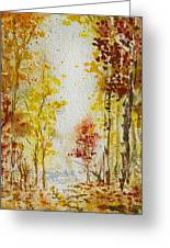Fall Tree In Autumn Forest  Greeting Card