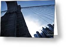 Falling Lines - Brooklyn Bridge Greeting Card