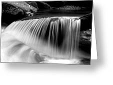 Falling Water Black And White Greeting Card