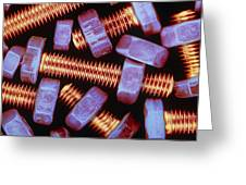 False-coloured Photograph Of Nuts And Bolts Greeting Card