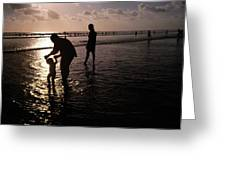 Families Play In A Shallow Lagoon Greeting Card