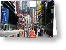 Amidst Color And Construction In Times Square Greeting Card
