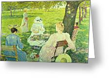 Family In The Orchard Greeting Card